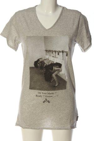 Boom bap Print-Shirt hellgrau meliert Casual-Look