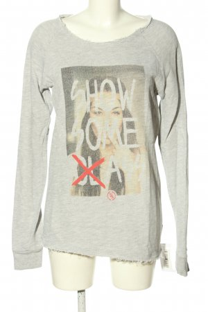 Boom bap Kraagloze sweater lichtgrijs-room gestippeld casual uitstraling