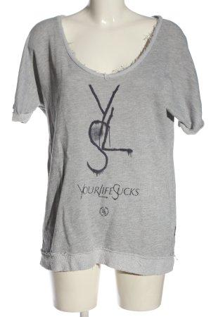 Boom bap Gebreid shirt wit-zwart gedrukte letters casual uitstraling