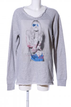 Boom bap Sweat Shirt light grey flecked casual look