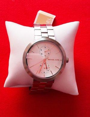 BOOOM!!! NEU mit Etikett, Sportlich elegante Damenuhr mit Datumanzeige von MICHAEL KORS in Silber (Mix aus glänzendem und matt gebürstetem Metall)