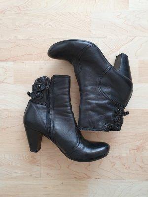 Booties Boots Ancle Boots Stiefeletten schwarz Schlafe rund Blockabsatz midi Pumps schwarz Nappaleder 36 Vic Matie