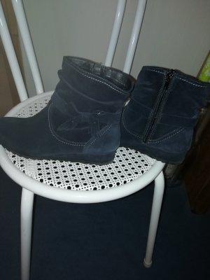 Tamaris Wedge Booties dark blue leather