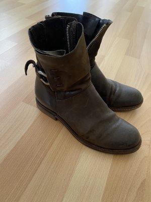 A.S.98 Halfhoge laarzen taupe-donkergroen