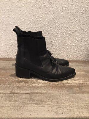 Allsaints Wciągane buty za kostkę czarny Skóra