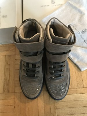 Brunello Cucinelli Ankle Boots grey-camel leather