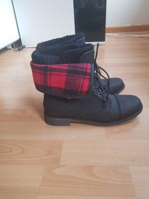 JustFab Botas de tobillo negro-rojo