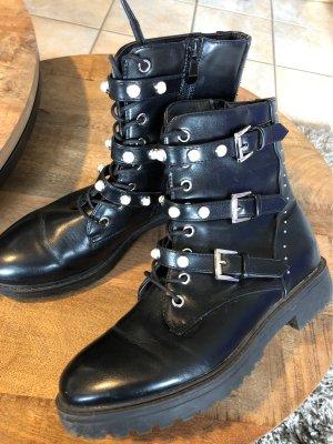 Botas de tobillo negro-blanco