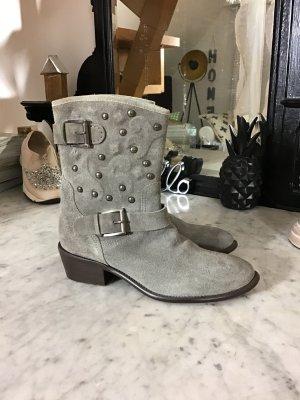 Botas deslizantes gris-color plata Cuero