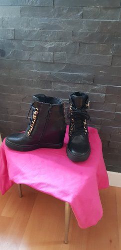 Wedge Booties black-gold-colored