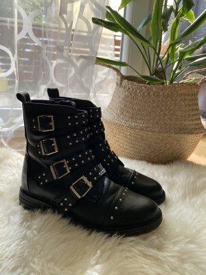 Boots mit Nieten Kunstleder Stiefel