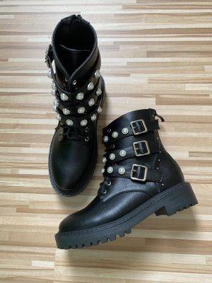 SheIn Bottes à lacets noir-argenté
