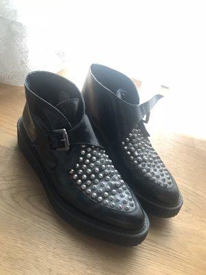 Krótkie buty czarny Skóra