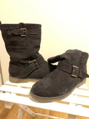Boots, rauleder, schwarz, Gr. 39