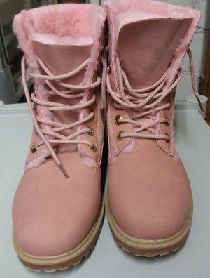 Botas con cordones rosa