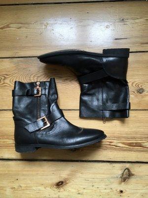 Boots, schwarz, Leder
