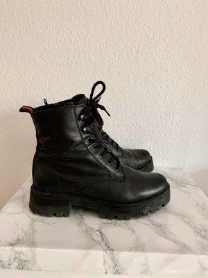 Deichmann Bottines à lacets noir-rouge cuir
