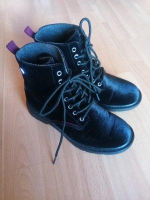 Boots Stiefel Samt Schnürschuhe