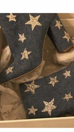 Boots Stiefel Stiefletten Jeans Leder Glitze Sternen Gr38 von George J. Love