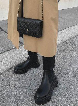 Zara Buty z krótką cholewką na platformie czarny Skóra