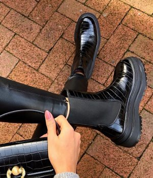 Boots Stiefelette zara Schwarz Blogger Plateau Tracksohle Animalprint Lack Gr. 41