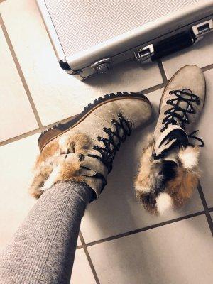 Boots Stiefeletten grau Echtfell 38,5 lace up