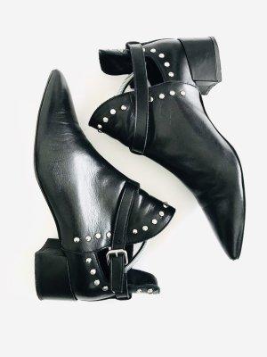 Boots von Marccain, Gr. 40, schwarz, Leder mit Nieten
