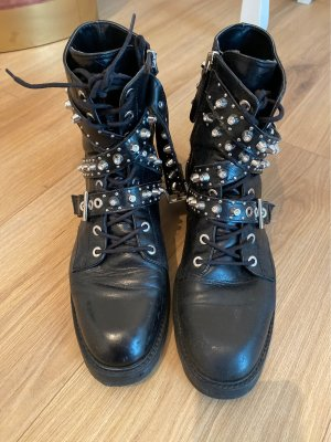 Zara Lace-up Boots black-silver-colored leather
