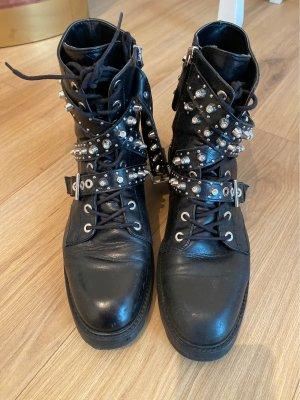 Zara Aanrijg laarzen zwart-zilver Leer
