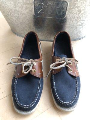 Sebago Zapatos de marinero azul oscuro-marrón