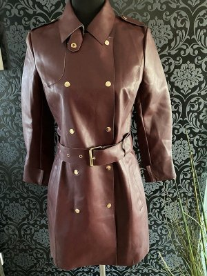 Stradivarius Leather Coat carmine-bordeaux imitation leather