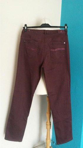 AWG Mode Pantalone cinque tasche carminio-bordeaux Cotone