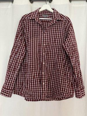 Bordeaux rot / weiß kariertes Hemd von Montego in XL