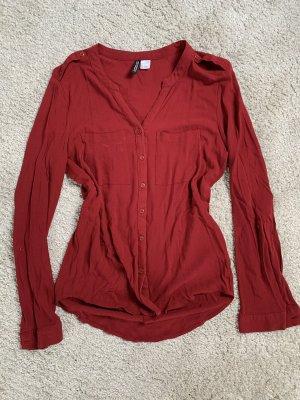 Bordeauxrote Bluse von H&M in Größe S