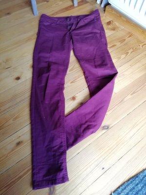 H&M Pantalón de tubo burdeos-bermejo