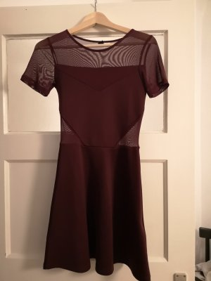 H&M Vestido cut out burdeos