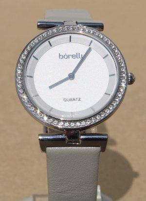 borelli Zegarek ze skórzanym paskiem srebrny