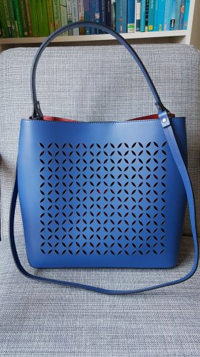Borse in Pelle Handtasche Leder Blau