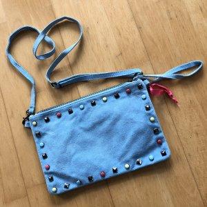 Borse in Pelle Tasche hellblau Leder boho Clutch Ledertasche