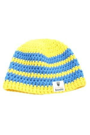 boshi Bonnet en crochet jaune primevère-bleu motif rayé style décontracté