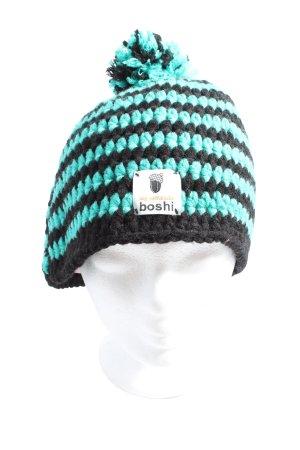 boshi Crochet Cap black-turquoise allover print casual look