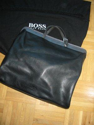 Boss Hugo Boss Handtasche, handschuhweiches Leder, Schwarz mit Anthrazit, TOP Zustand.