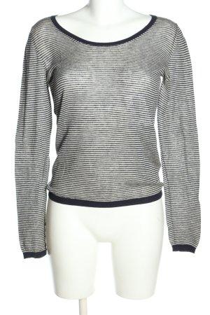 BOSS HUGO BOSS Sweter z okrągłym dekoltem jasnoszary-biały W stylu casual