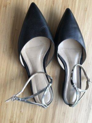 Hugo Boss Slingback Ballerinas dark blue leather