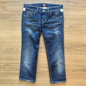 Boss Orange Jeansy 3/4 niebieski-biały Bawełna