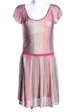 Boss Orange A-Linien Kleid pink-hellgrau Streifenmuster Casual-Look