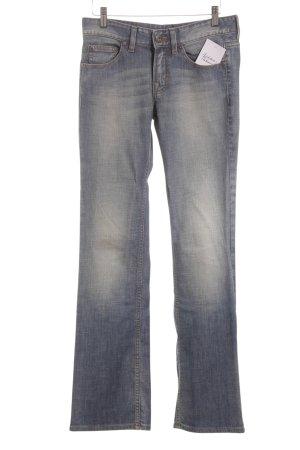 Boss Orange Boot Cut Jeans stahlblau Logo-Applikation aus Leder