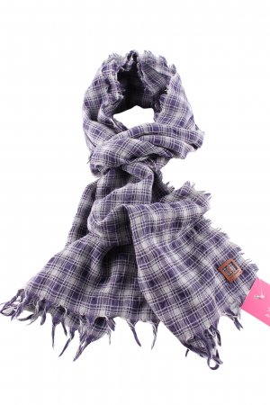 Boss Orange Fringed Scarf lilac-light grey check pattern casual look