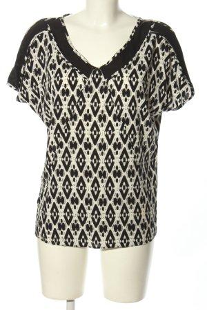 Boss Orange Kurzarm-Bluse schwarz-weiß grafisches Muster Casual-Look