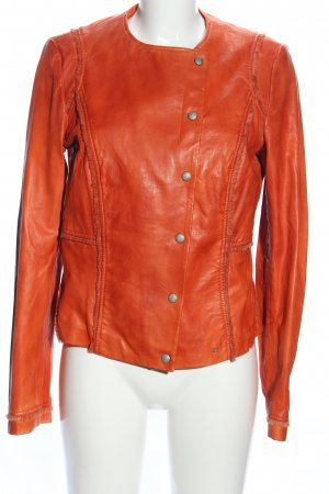 Boss Orange Lederjacke hellorange Casual-Look